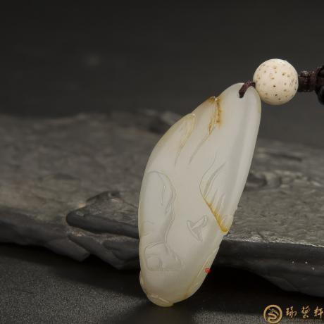 新疆和田玉秋梨皮白玉籽玉挂件(独籽) 远行 10.8克