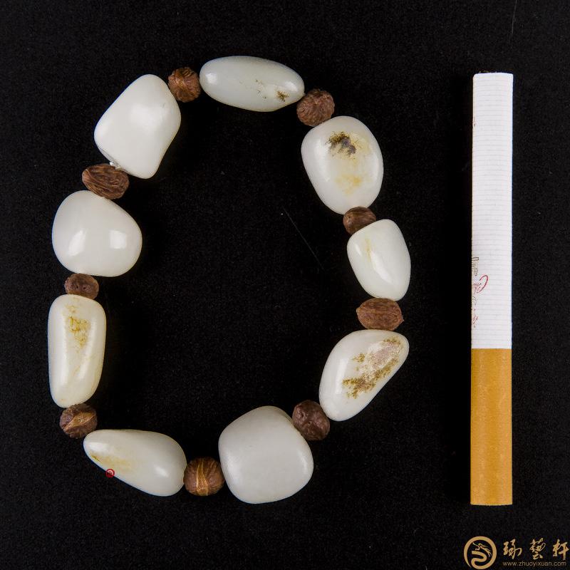 【琢艺轩】新疆和田玉羊脂白玉籽玉 手链 47.5克