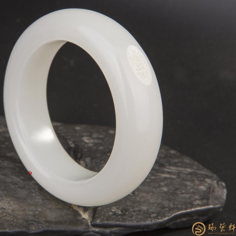【琢艺轩】新疆和田玉洒金皮一级白玉籽玉 手镯 131.5克