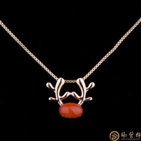 18K玫瑰金南红可爱小鹿吊坠 金2.32克