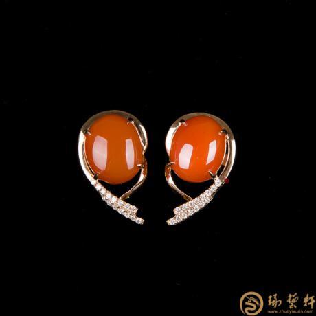 南红玛瑙18K白金镶嵌女士耳饰 金3.45克