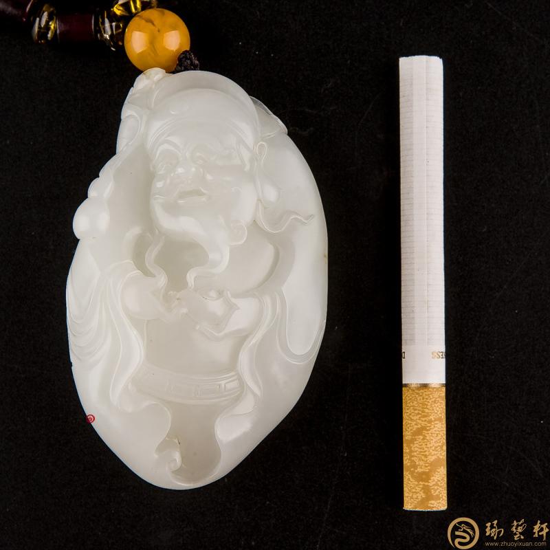 【琢艺轩】新疆和田玉黄皮一级白玉籽玉把件 财神 129.6克