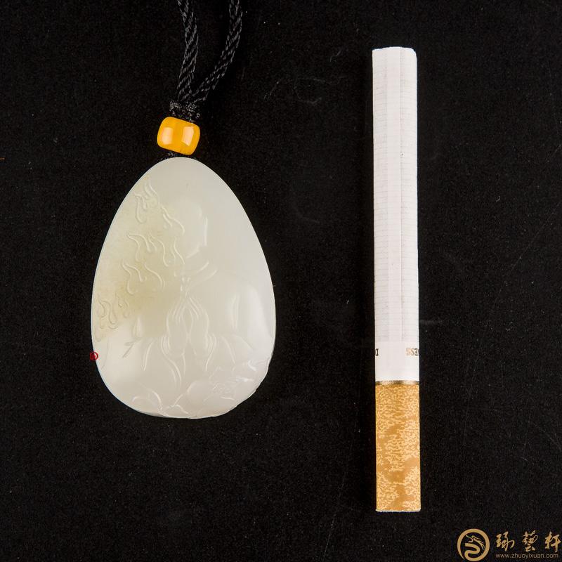 【琢艺轩】新疆和田玉洒金皮白玉籽玉玉牌 涅槃 38.9克