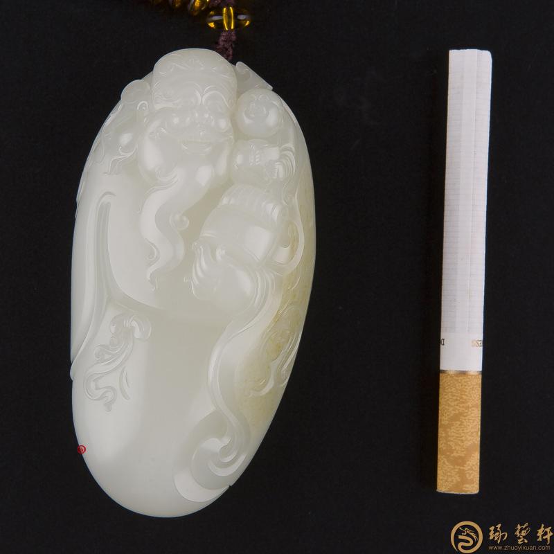 【琢艺轩】新疆和田玉洒金皮白玉籽玉把件 望子成龙 159.9克