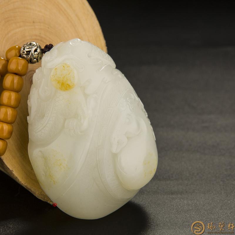 【琢艺轩】新疆和田玉黄皮白玉籽玉把件 龙马精神 158.8克