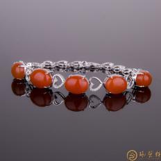 【琢艺轩】南红玛瑙18K白金镶嵌女士手链 金8.22克