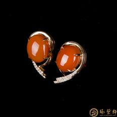 【琢艺轩】南红玛瑙18K白金镶嵌女士耳饰 金3.45克