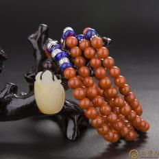 【琢艺轩】新疆和田玉洒金皮白玉籽玉南红手链 龙龟 44.8克