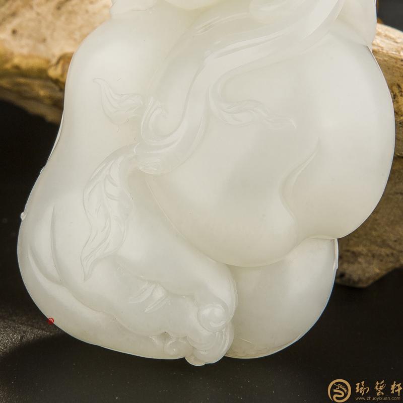 【琢藝軒】新疆和田玉黃皮白羊脂白玉籽玉把件 事事如意 110克