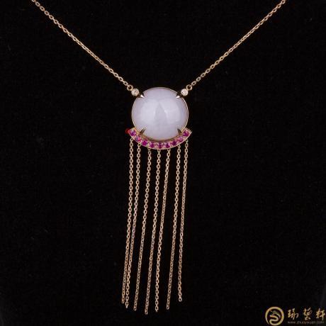 天然A货紫罗兰翡翠项链18k金镶红宝石 珠联璧合 7.9克