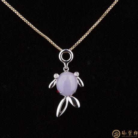 天然A货紫罗兰翡翠吊坠18k金 鸢飞鱼跃 4.5克