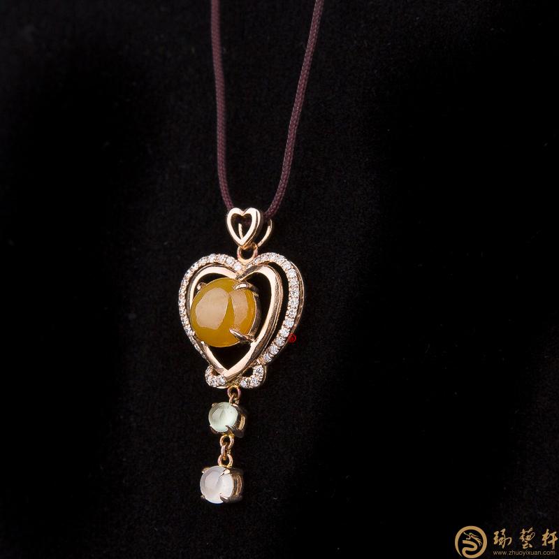 【琢艺轩】天然A货黄翡翠18k金吊坠 怦然心动 2.5克
