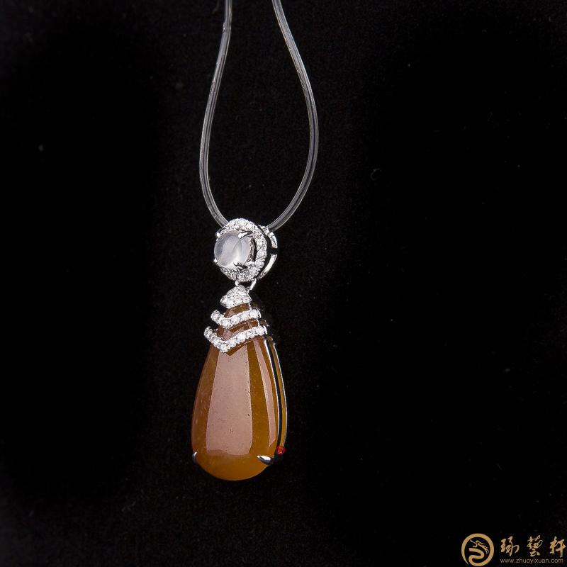 【琢艺轩】天然A货黄翡18k金镶钻吊坠 水滴黄翡 2.9克