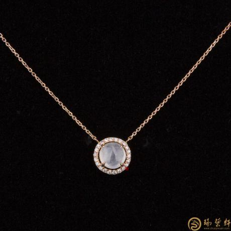 天然A货冰种翡翠锁骨链18k金镶钻  2.1克