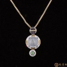 【琢艺轩】天然A货冰种翡翠吊坠18k金钻石 福禄长久 3克