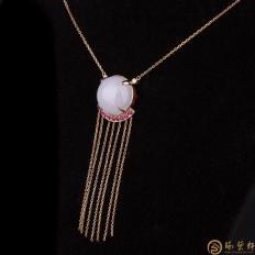 【琢艺轩】天然A货紫罗兰翡翠项链18k金镶红宝石 珠联璧合 7.9克