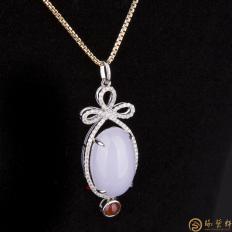 【琢艺轩】天然A货紫罗兰翡翠18k金镶钻吊坠 晶肌玉骨 6.8克