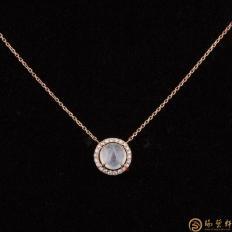 【琢艺轩】天然A货冰种翡翠锁骨链18k金镶钻  2.1克