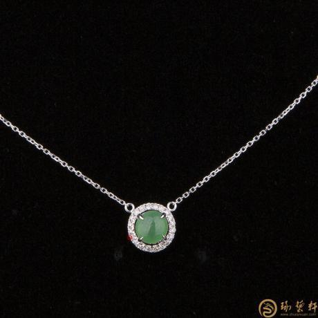 天然A货翡翠阳绿 锁骨链18k金镶钻  1.8克