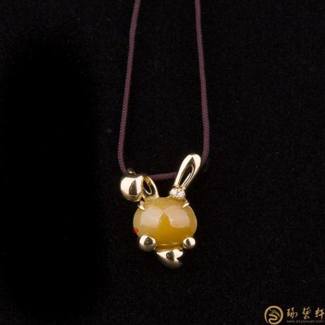 天然A货黄翡翠吊坠18k金 兔子 3.2克