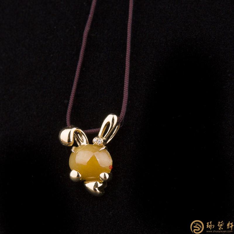 【琢艺轩】天然A货黄翡翠吊坠18k金 兔子 3.2克