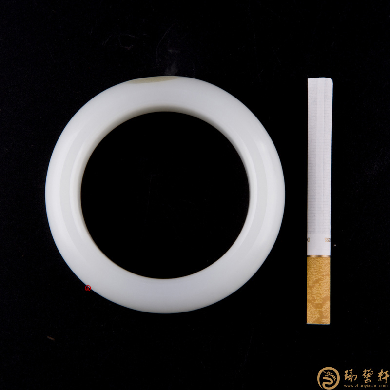 【琢艺轩】新疆和田玉黄皮羊脂白玉籽料 手镯 112克