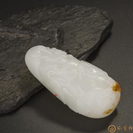新疆和田玉黄皮羊脂白玉籽料把件 路路有福 78克(客户代卖)