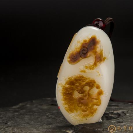 穆宇靜 新疆和田玉紅皮一級白玉籽玉掛件 府上有龍(獨籽) 55克