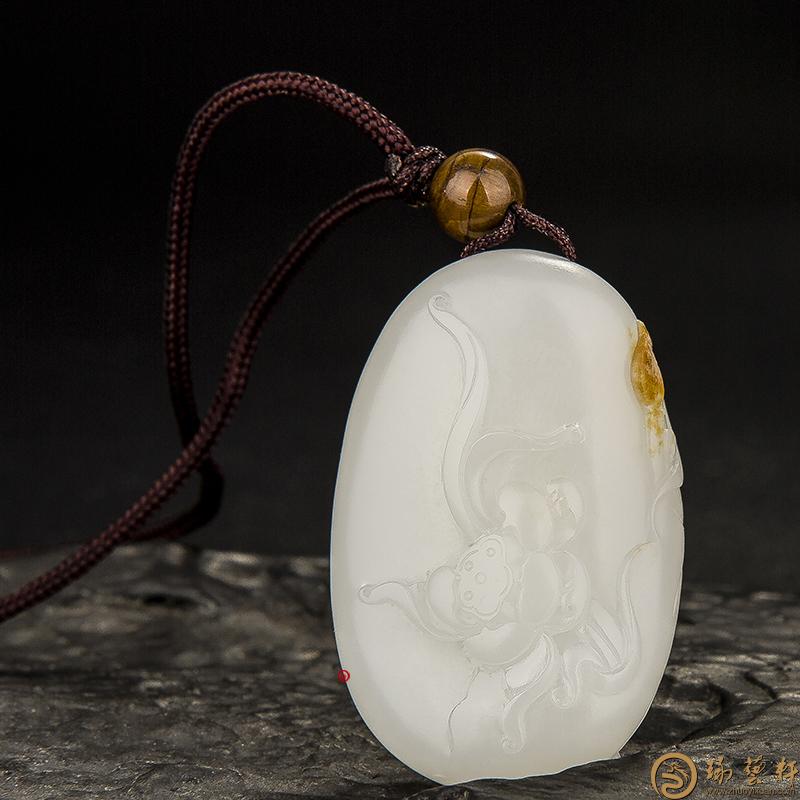 【琢艺轩】新疆和田玉黄沁皮羊脂白玉籽玉挂件 荷香(客户代卖) 20克