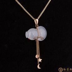 【琢艺轩】天然A货冰种翡翠挂坠18k金 葫芦 4.2克