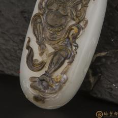 【琢艺轩】穆宇静 新疆和田玉黑皮羊脂白籽玉把件 金刚伏魔(独籽) 93克