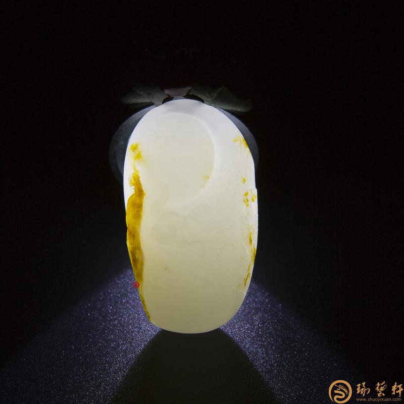 【琢藝軒】新疆和田玉紅皮白玉籽料掛件 望月(獨籽) 15.4克