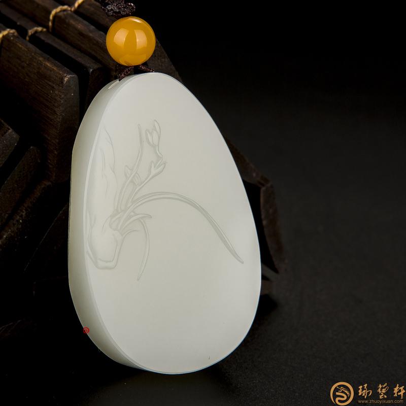 【琢艺轩】新疆和田玉黄皮白玉籽料玉牌 兰 33.4克