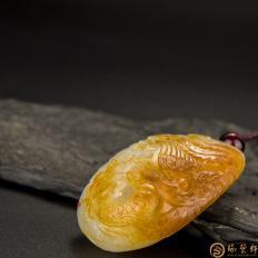 【琢艺轩】穆宇静 新疆和田玉黄沁白玉籽玉把件 龙凤呈祥(独籽) 51.5克