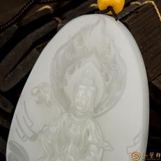 【琢艺轩】新疆和田玉白皮羊脂白玉籽玉挂件 观音 31.5克