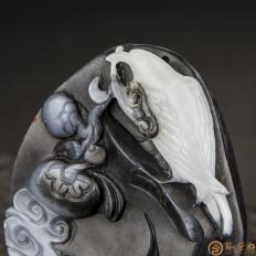 【琢艺轩】新疆和田玉青花籽料挂件 一世英武 39克