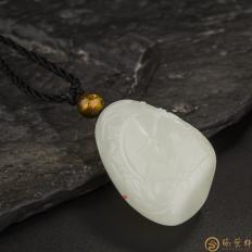 【琢艺轩】新疆和田玉白皮白玉籽玉挂件 荏苒 20.7克