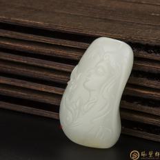 【琢艺轩】新疆和田玉黄皮白玉籽玉挂件 春之神 28.4克