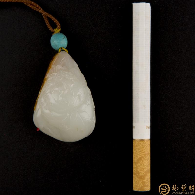 【琢藝軒】新疆和田玉紅皮一級白玉籽玉掛件 蝶戀花  30克