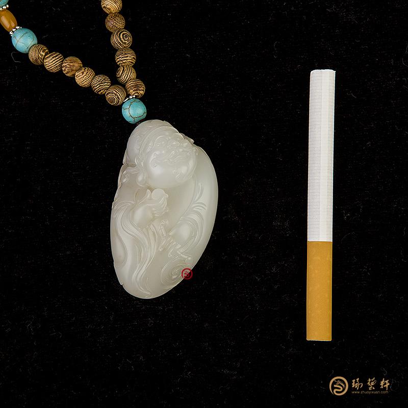【琢艺轩】新疆和田玉黄皮羊脂白玉籽玉把件  财神纳福 62克