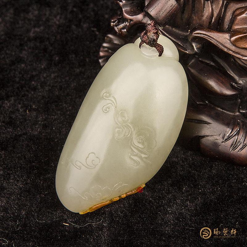 【琢艺轩】新疆和田玉红皮白玉籽玉把件  佛引福来  54克
