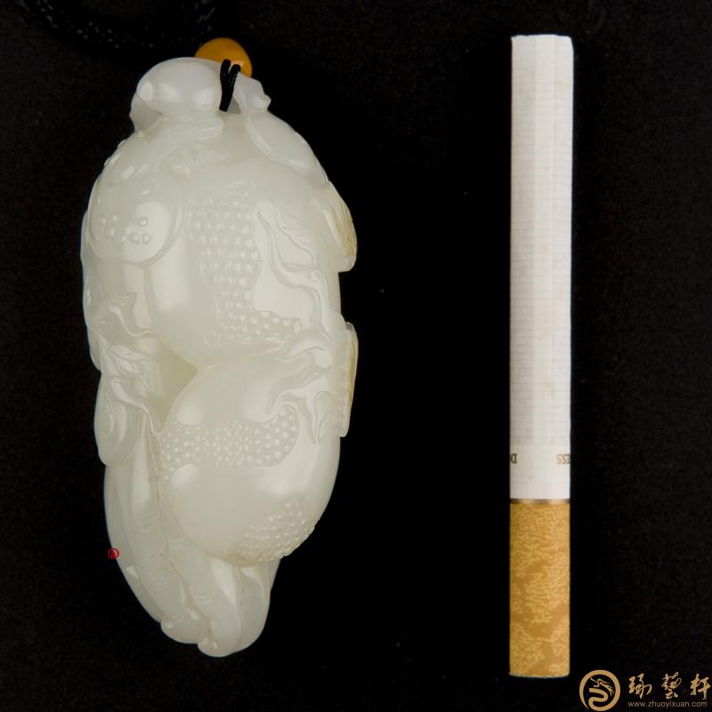 【琢艺轩】新疆和田玉洒金皮白玉籽玉把件 福禄寿 106克