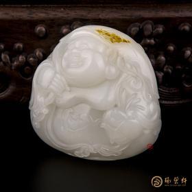 【琢艺轩】穆宇静 新疆和田黄皮一级白籽玉把件 弥勒佛(独籽) 184.2克