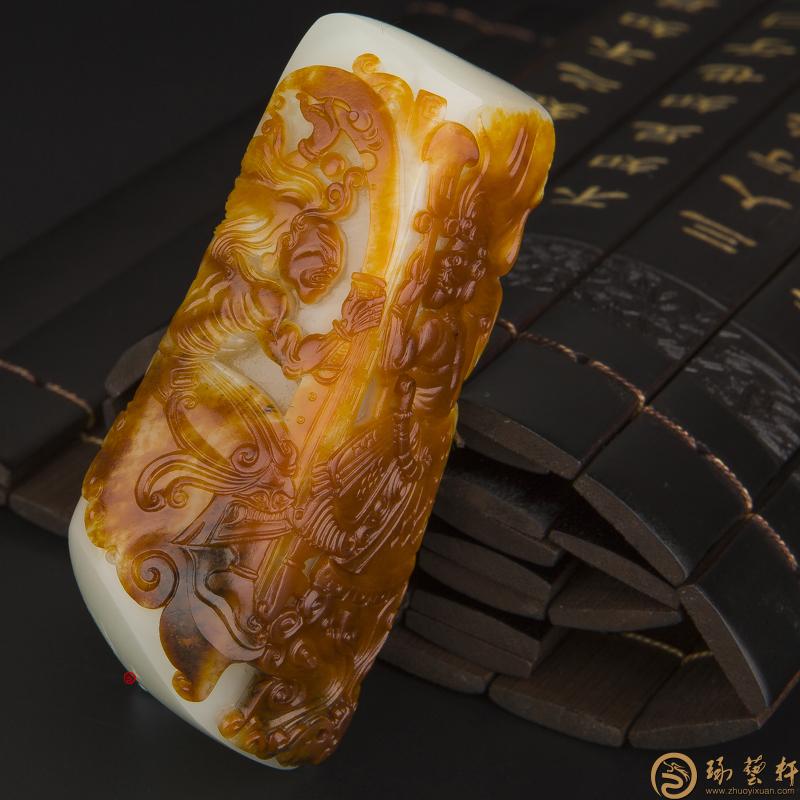 【琢艺轩】穆宇静 新疆和田红沁皮一级白玉籽玉手把件 哼哈二将