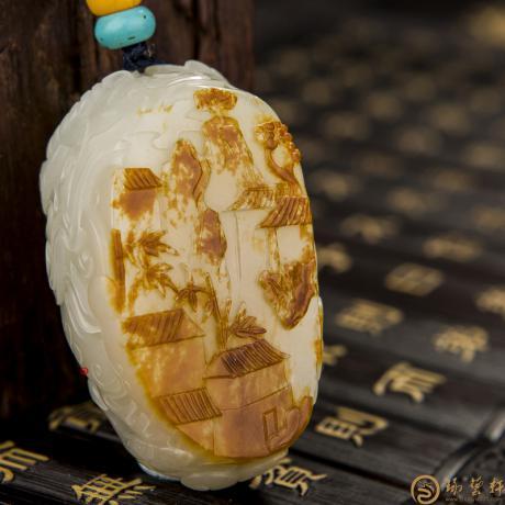 穆宇静 新疆和田红皮白玉籽玉把件 消失的图腾 93克