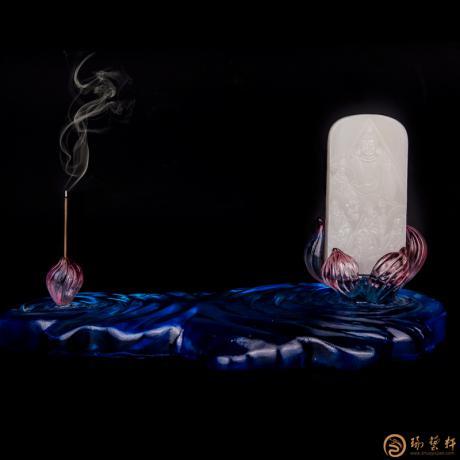 穆宇静 新疆和田白皮羊脂白玉籽玉牌子 佛会 191克