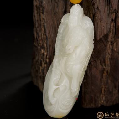 【琢艺轩】新疆和田黄皮一级白玉籽玉把件 关公 194.6克