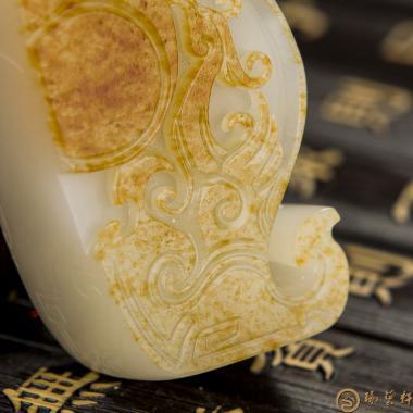 【琢艺轩】新疆和田红皮白玉籽玉挂件 龙凤福缘 57.6克