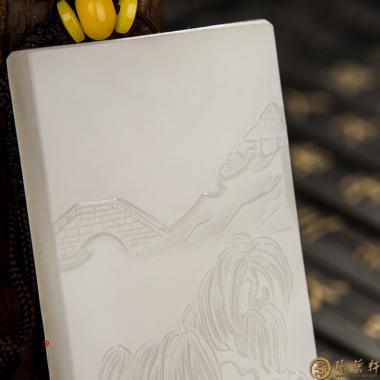 【琢艺轩】穆宇静 新疆和田洒金皮一级白籽玉牌子 悠然 73克