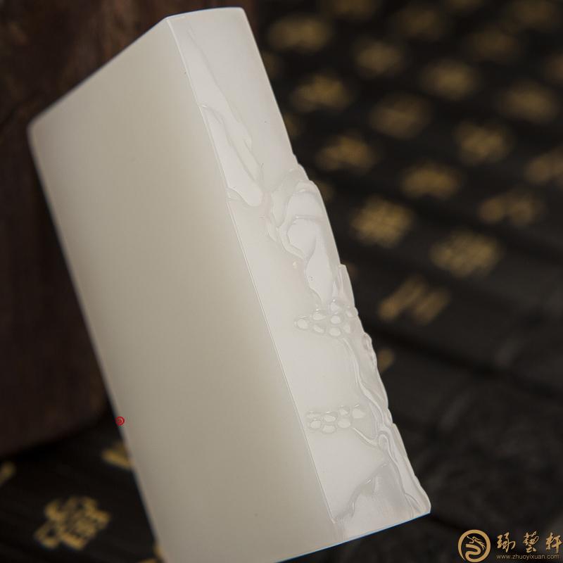 【琢艺轩】新疆和田一级白玉籽玉牌子 忆江南 97克